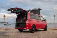 YC14KLU Doors Open Red Camper