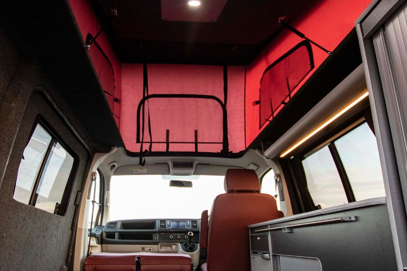 Red pop top roof interior